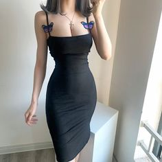 Fashionable sexy low-cut slim dress with butterfly embroidery decoration · FE CLOTHING · Online Store Powered by Storenvy Sheath Dress, Bodycon Dress, High Fashion Outfits, Fashion Ideas, Mode Chanel, Elegantes Outfit, Thing 1, Couple Outfits, Korean Street Fashion