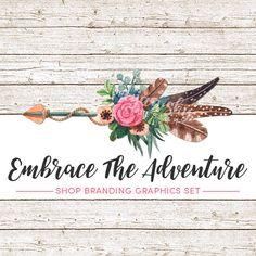Feather Illustration Profile Banner Avatar DIY Graphic Design Premade Etsy Store Graphics Set-Light Blue Flower Shop Icon