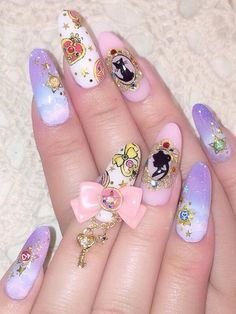 Pin By Jewell Hart On Outfits In Nails Swag Nails - Nails On Fleek Dope Nails Fancy Nails Trendy Nails Acrylic Nails Acrylics Hair And Nails My Nails Super Cute Nails More Information Saved By Jewell Hart Valentines Nails See More Q Kawaii Nail Art, Cute Nail Art, Cute Nails, Fancy Nails, Uñas Sailor Moon, Sailor Moon Nails, Sailor Moon Makeup, Acrylic Nail Designs, Acrylic Nails