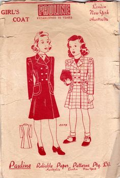 RARE 1940s Girls Overcoat Pattern Pauline 2079 Double Breasted Teen Trench Coat Vintage Sewing Pattern Size 12 Chest Bust 30 inches