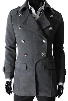 Fashion Clothing · Fashion Street Grey Full Sleeves Wool Men - Coats Mens  Duffle Coat f527194e0