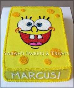I recieved a request for another Spongebob Cake and Cookies. This time I took a different route on the cake and made the whole thing into Spongebob's face! Spongebob Birthday Party, 7th Birthday, Birthday Ideas, Birthday Cakes, Spongebob Faces, Character Cakes, Spongebob Squarepants, Party Cakes, Theme Cakes