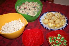 dr. seuss birthday dinner: fox in socks noodle-eating poodle pasta salad, one fish two fish red (swedish) fish, hop on popcorn, green eggs and ham mini quiches, and green eggs and ham pretzels with hershey's hugs and green m&ms