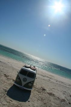 Two things I love - the beach and the VW camper van :)