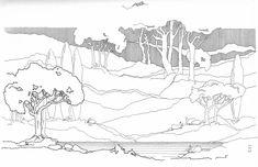 "Photo from album ""Архитектурная графика"" on Yandex. Landscape Sketch, Landscape Concept, Landscape Drawings, Landscape Design, Doodle Drawing, Pencil Trees, Nature Sketch, Interior Sketch, Hand Sketch"