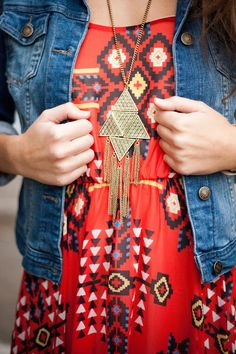 ~~Tribal Print Details and Jean Jacket~~