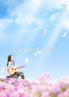 고해상,합성이미지,사람,동양인,한국인,한명,청년,젊은여자,봄,실외,하늘,파란색,구름,맑음,분홍꽃,꽃,측면,여자,여자한명만,연주,기타,노래,앉기,그루터기,캐주얼,다리꼬기,철쭉,힐링,여유,감성,행복,어른,25-29세,자유,상쾌, Concert, Spring, Movies, Movie Posters, Life, Color, Korea, Film Poster, Films