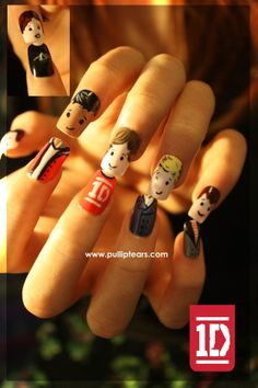 One Direction Nail Art Harry on the thumb (inset in the picture), wearing his Pink Floyd T Shirt, Zayn,  Liam in a 1D T Shirt, Niall and Louis on the little finger. 1D