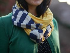 Jersey Braided Infinity Scarf in Yellow and Blue/Gray striped