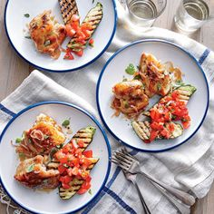 These sticky, saucy chicken thighs are perfectly paired with any grilled zucchini sides (shown here with chopped tomato-basil salsa). You can also use chicken breasts; just cook them a little longer, about 6 minutes per side.