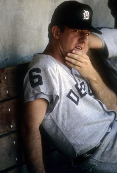 CIRCA 1968: Outfielder Al Kaline #6 of the Detroit Tigers watches the action from the dugout against the Oakland Athletic during a Major League Baseball game, at the Oakland-Alameda County Coliseum. Kaline Played for the Tigers from 1953-74. (Photo by Focus on Sport/Getty Images)