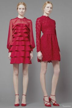 valentino fall 2013 2014 red long sleeve dresses short