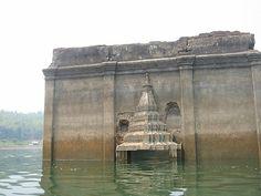 submerged village building