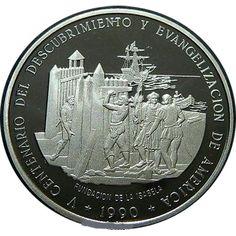 Moneda 5 onzas de plata 100 pesos Dominicana 1990.