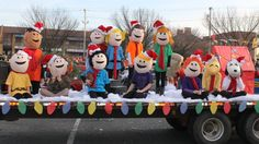 Paper Mache Peanuts Characters Costumes for Christmas Parade