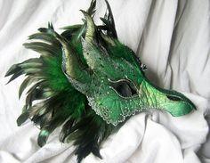 Emerald Green Dragon Mask - Made to Order Mask Fantasy Art Costume