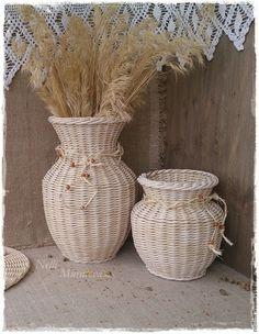 Вазы ручной работы. Ярмарка Мастеров - ручная работа. Купить Набор интерьерных плетеных ваз. Handmade. Ваза декоративная, для цветов