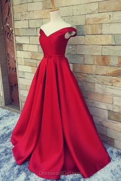 Off the Shoulder Prom Dress, Long Prom Dresses, Red Evening Gowns, Satin Party Dresses, Aline Formal Dresses