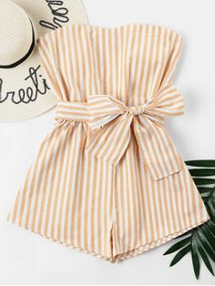 Hand in hand with the latest fashion trend by keeping your everyday look chic and new. Crafted from an allover vertical striped pattern throughout, this stylish woven romper features elasticized waist with a belt and a back concealed zipper. Cute Summer Outfits, Spring Outfits, Casual Outfits, Yellow Outfits, Boho Outfits, Mode Kpop, Teen Fashion, Fashion Outfits, Spring Fashion