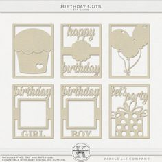 Birthday Cuts, png files plus svg and dxf cut files for your Silhouette Cameo.  Perfect for pocket scrapping, Project Life, card making or scrapbooking layouts!