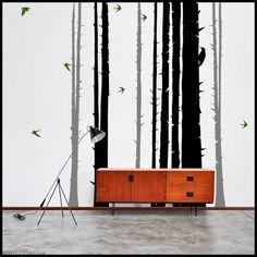 TREE WALL DECAL : Winter Pine Tree Forest - Graphical with birds, woodpecker. Tree sticker vinyl decor, birds, woodpecker. $95.00, via Etsy.