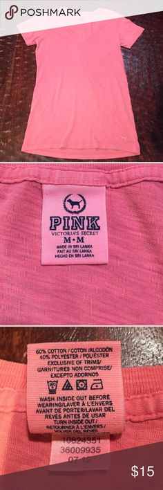 """PINK V-Neck Tee Medium PINK V-Neck Tee. Tee is 26"""" from shoulder to hem. Bust measures 16"""" laying flat. Tee is in great condition, with little sign of wear. There is very minor pilling on front of shirt, this is visible in pics. Comes from a Smoke Free/Pet Friendly Home. Offers always welcome. PINK Victoria's Secret Tops Tees - Short Sleeve"""