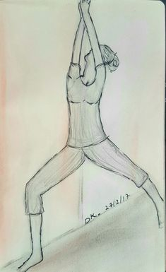 """Pencil Sketch by Dorit Kenyagin #16 """"100 - Good morning challenge"""". Yoga  Warrior 1 pose. Pose work on Root chakra and build a strong foundation."""