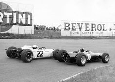 Graham Hill and Richie Ginther dicing at Zandvoort, Dutch GP 1965. Hill 4th in his BRM P261 and Richie 6th in his Honda RA272 in the race won by Clarks' Lotus 33 Climax, Clark the '65 Champ.