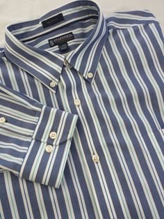 Stafford Signature Men's Shirt Blue Striped Extra Large 100% Cotton Button down #StaffordSignature