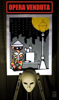 Arlecchino nella pioggia, 2014 Harlequin in the rain  Acrilico su tela / Acrylic on canvas 60 X 45 cm  OPERA VENDUTA / SOLD