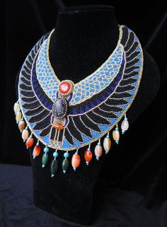 ancient egypt beaded necklace / collar necklace / bib necklace beadwork embroidery art by LeMava Ancient Egypt Art, Ancient Egyptian Jewelry, Bead Embroidery Jewelry, Beaded Jewelry Patterns, Embroidery Art, Chunky Jewelry, Statement Jewelry, Modern Jewelry, Vintage Jewelry