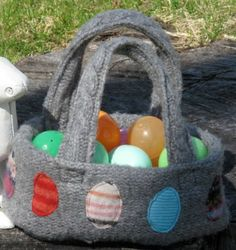 Recycled sweater Easter Basket :)