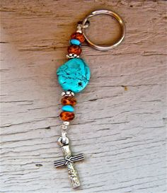 The turquoise and brown rosary keychain makes for the perfect gift! And its only $14.00!