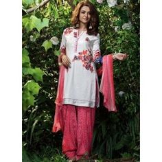 Surveen Chawla White and Light Pink Printed Patiala Suit