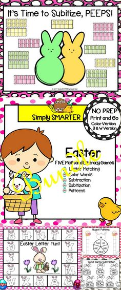 Are you looking for NO PREP literacy and math games for preschool, kindergarten, or first grade? Then download this bundle and go! Enjoy this phonics and math resource which is comprised of FIVE different EASTER themed games complete with a color version and black and white version of each game. The games can be used for small group work, partner collaboration, or homework! Literacy Games, Interactive Activities, Preschool Kindergarten, Hands On Activities, Literacy Centers, Math Games, Teaching Resources, Educational Board Games, Educational Activities