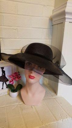 094ce28337330e Women's Wide Brim Fancy Crinoline Black and White Church Dress Derby  Wedding Hat #fashion #