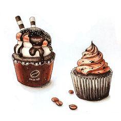Капкейки кофейно-шоколадные для любителей сладенького! #экстримскетчинг2 #kalachevaschool