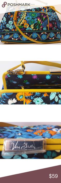 "Vera Bradley Midnight Blues Frame Doctor Bag NWOT gorgeous VB satchel. Midnight Blues pattern, yellow leather trim. Clasp closure on top, removable leather strap, and leather and metal feet on the bottom of the bag. 4 pockets inside, 1 outside. Approximate measurements are 12 3/4"" x 9 1/4"" x 5 3/4"" . 31 1/2"" removable strap. Some storage scratches on the leather up top, otherwise excellent condition. Plastic is still over the Vera Bradley clasp. Vera Bradley Bags Satchels"