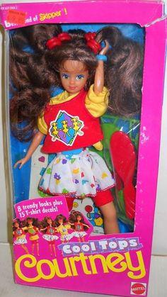 Cool Tops Courtney Skipper Barbie - I always loved her cuz her hair looked like mine :) 1980s Barbie, Barbie Skipper, Vintage Barbie Dolls, 1980s Toys, Barbie Sisters, Barbie Family, Devon, Barbie Birthday, Barbie Dream
