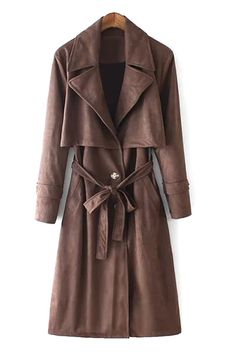 Lapel Self-Tie Belt Suede Trench Coat