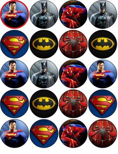 SPIDERMAN SUPERMAN BATMAN EDIBLE WAFER PAPER TOPPERS CUPCAKES BUNS ... Superman Cakes, Superman Party, Batman And Superman, Spiderman Cupcake Toppers, Eid Stickers, Bottle Cap Projects, Cake Pop Displays, Edible Printing, Ink In Water