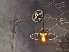Vintage Industrial Pulley Sconce - Mirrored SHADE - Wall Mount Light - Machine Age Trouble Lamp Sconce $298
