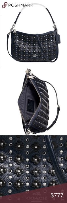 """Coach Chelsea cross body flowered rivets Still deciding if I want to sell. Rows of fun floral rivets, studs and grommets seen throughout this collection adds a charming edge to the wear-anywhere Chelsea Crossbody. hands-free for effortless on-the-go style. Classic calf leather Inside zip, cell phone and multifunction pockets Zip-top closure, fabric lining Handles with 7 3/4"""" drop Strap with 23"""" drop for shoulder or crossbody wear 11 1/4"""" (L) x 7 1/4"""" (H) x 2 3/4"""" (W) Style No: 37702 Color…"""