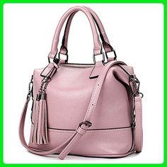 SEALINF Womens PU Leather Tote Handbag Shoulder Crossbody Bag with Tassel (pink purple) - Totes (*Amazon Partner-Link)
