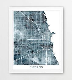 Chicago Urban Map Print Chicago Illinois Street Map Poster