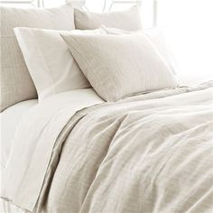PCH Pinstripe Linen Dove Gray Duvet Cover