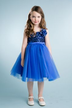 Wishesbridal Royal Blue Noble Spaghetti Strap Tea Length #Tulle A Line #FlowerGirlDress B3gd0011