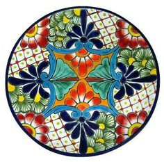 Charming, decorative Talavera Plate, handmade and painted in bright colors by the master artisans at Gutierrez in Central Mexico. It has two holes in the back for easy hanging against a wall. Pottery Plates, Glazes For Pottery, Ceramic Pottery, Pottery Painting, Ceramic Painting, Ceramic Art, Tile Art, Mosaic Art, Kintsugi