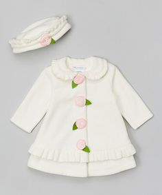 Take a look at this Ivory Flower Hat & Coat  by Alison Ann on #zulily today!