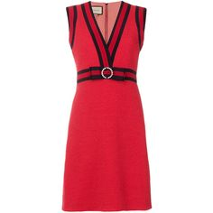 Gucci Red Gg Web Shift Dress ($2,700) ❤ liked on Polyvore featuring dresses, red, gucci dress, deep v neck red dress, sleeveless shift dress, sleeveless short dress and shift dress